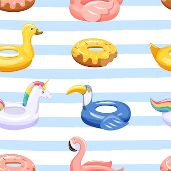 Seamless pattern with various inflatable swimming pool rings