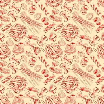 Seamless pattern with various kinds of pasta