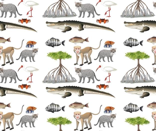 Modello senza cuciture con vari animali di mangrovie in stile cartone animato