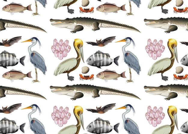 漫画のスタイルでさまざまなマングローブの動物とのシームレスなパターン