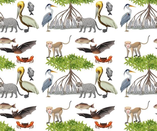 Modello senza cuciture con vari animali di mangrovie su sfondo bianco