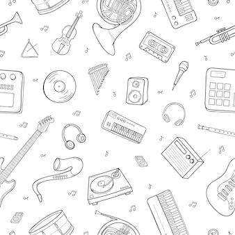 Безшовная картина с различными музыкальными инструментами, символами, объектами и элементами.