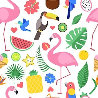 熱帯の花や他の植物のさまざまな写真とのシームレスなパターン。シームレスな花の植物、スイカとパイナップル、フラミンゴの鳥の背景。