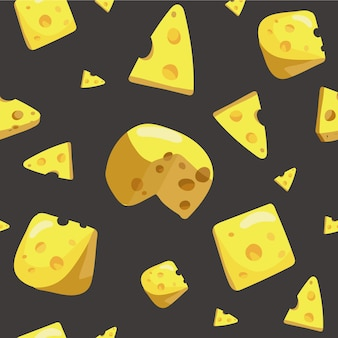 Seamless pattern with various piece of cheese with holes.