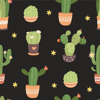 Seamless pattern with various pot of cactus.