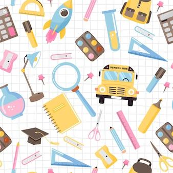 Бесшовный фон с различными школьными принадлежностями снова в школу иллюстрации