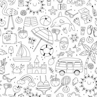 Бесшовный фон с различными летними и пляжными предметами в мультяшном стиле каракули