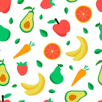 Seamless pattern with various tropical fruits on white.