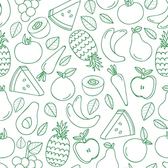Seamless pattern with various tropical fruits on white