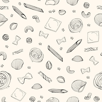 Seamless pattern with various types of raw pasta hand drawn with black contour lines