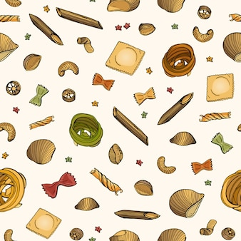 Seamless pattern with various types of raw pasta on light background
