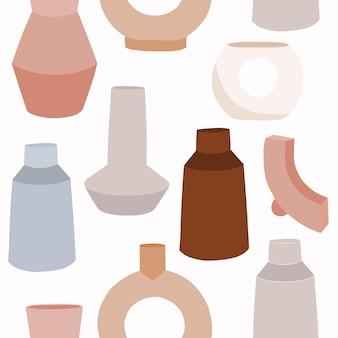 花瓶のイラストとシームレスなパターン