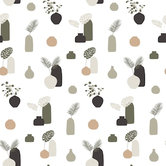Seamless pattern with vases and leaves.