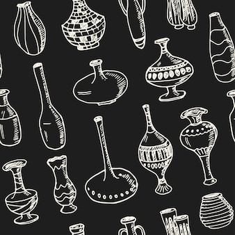 Seamless pattern with vases