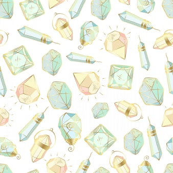 Seamless pattern with vector colored crystals or gems