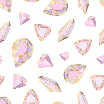 Seamless pattern with vector colored crystals