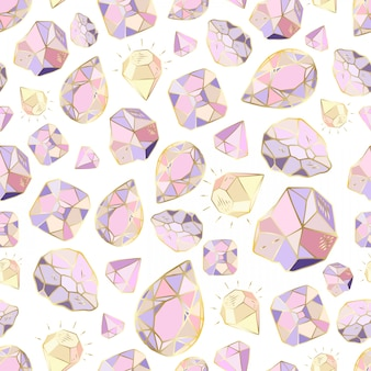 Seamless pattern with vector crystals or gems