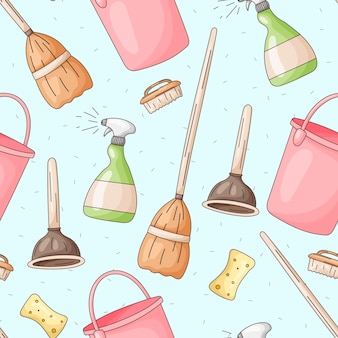 Seamless pattern with vector icons of house cleaning, washing and freshness. cartoon bottles of detergent, mops, washcloths, sponges and brooms.