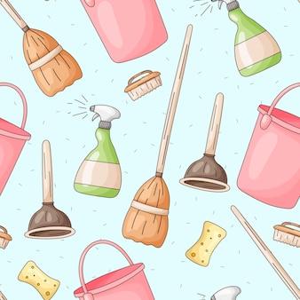 Бесшовный фон с векторными символами уборки, стирки и свежести. мультяшные бутылки моющего средства, швабры, мочалки, губки и веники.