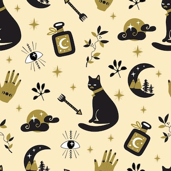 Seamless pattern with vector illustration for halloween holiday