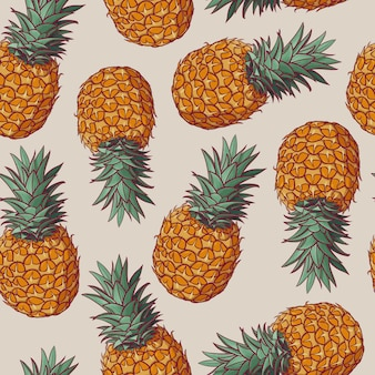 Seamless pattern with vector illustrations of pineapples.