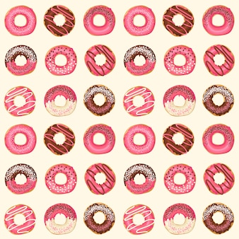 Seamless pattern with vector sweet pink glazed donuts with chocolate and powder. food design.
