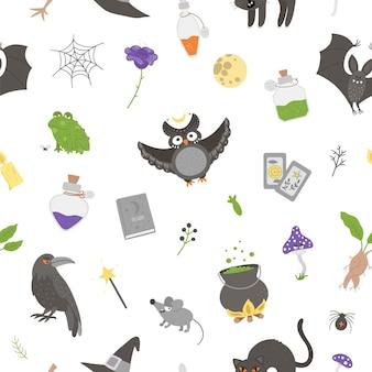 Бесшовный фон с векторными элементами колдовства. цифровая бумага с иконами хэллоуина. симпатичный осенний фон кануна всех святых с черной кошкой, книгой заклинаний, метлой, котлом для детей.