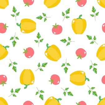 Бесшовный фон с овощами и фруктами. яркий дизайн в плоском стиле с витаминами и минералами. свежие органические продукты для здорового образа жизни. вектор