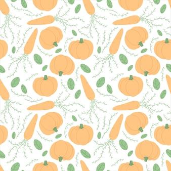 野菜とのシームレスなパターン。にんじん、かぼちゃ、緑の葉