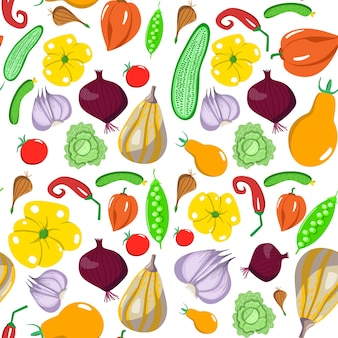 Seamless pattern with vegetables in a cartoon style. vector texture. flat icons pepper, cabbage, cucumber, pea, tomato. vegetarian healthy food. vegan, farm, organic, natural background
