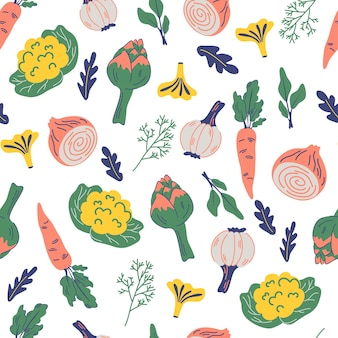 野菜とのシームレスなパターン。アーティチョーク、カリフラワー、タマネギ、ニンニク、ニンジンの食品装飾品。健康食品。ビーガン、農場、有機、自然の背景。印刷、メニュー、レストラン、キッチンテキスタイル用