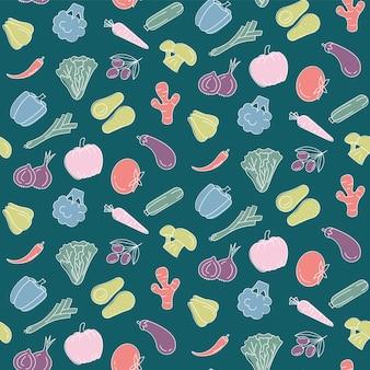 野菜とのシームレスパターンフードプリント