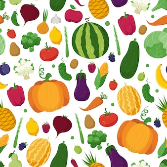 Seamless pattern with vegetables, fruits and berries