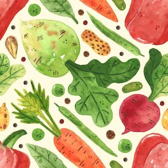 野菜とのシームレスなパターン。緑、エンドウ豆、豆、ピーマン、葉、大根、にんじん。水彩風