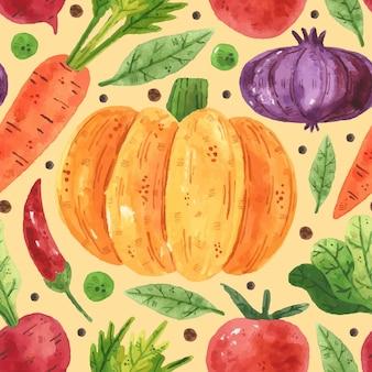 野菜とのシームレスなパターン。緑、エンドウ豆、豆、大根、タマネギ、葉、トマト、ニンジン、カボチャ。水彩風