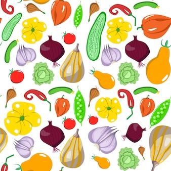 Бесшовный фон с овощами в мультяшном стиле. векторная текстура. плоские значки перец, капуста, огурец, горох, помидор. вегетарианская здоровая пища. веган, ферма, органический, естественный фон