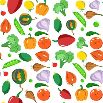 Бесшовный фон с овощами в мультяшном стиле. векторная текстура. плоские значки перец, тыква, горох, чеснок и помидор. вегетарианская здоровая пища. веганский, ферма, органический, естественный фон