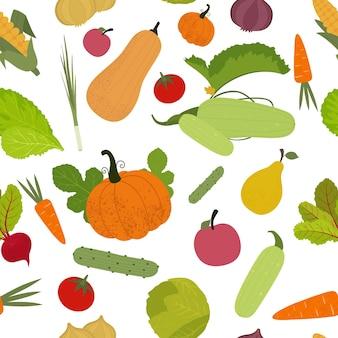 フラットスタイルの野菜とのシームレスなパターン。図
