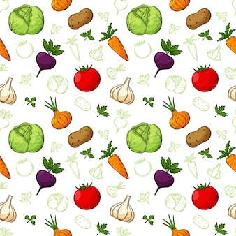 Seamless pattern with vegetables in a linear, hand-drawn style.