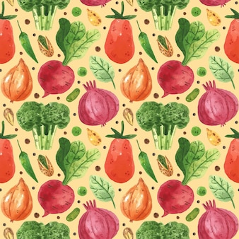 Seamless pattern with vegetables. onion, radish, broccoli, greens, pea, bean, pepper, leaf, tomato. watercolor style