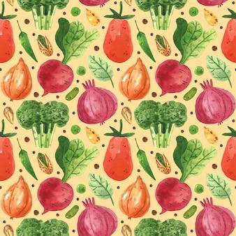 Бесшовный фон с овощами. лук, редис, брокколи, зелень, горох, фасоль, перец, лист, помидор. акварельный стиль