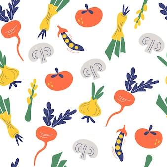 野菜とのシームレスなパターン。タマネギ、トマト、大根、きのこ、いんげん、エンドウ豆。ベジタリアン健康食品ベクトルテクスチャ。ビーガン、農場、オーガニック、デトックス。ファーム自然ベクトル手描きの背景。