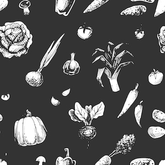 Seamless pattern with vegetables sketches
