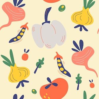 Seamless pattern with vegetables vegetarian healthy food vector texture vegan farm organic