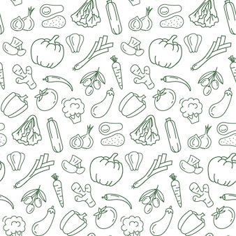 Seamless pattern with vegetarian food.