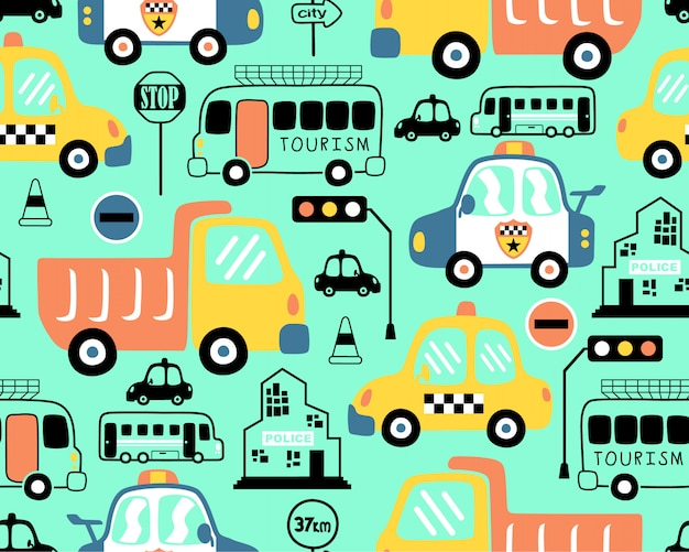 Seamless pattern with vehicles cartoon