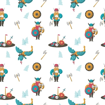 Seamless pattern with vikings and dragons