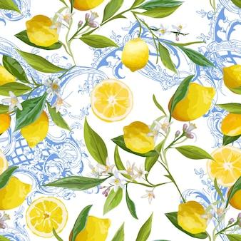 Бесшовный образец с винтажным дизайном барокко с желтыми лимонными фруктами, цветочным фоном с цветами, листьями, лимонами для обоев, тканью, печатью. векторная иллюстрация