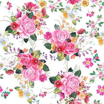 ヴィンテージの花束とのシームレスなパターン