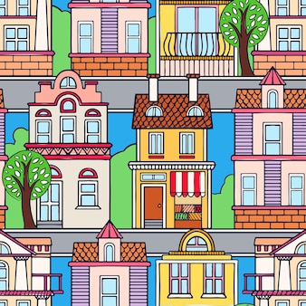 Seamless pattern with vintage colorful houses. hand-drawn illustration